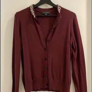 Ann Taylor button up cardigan with badazled neck
